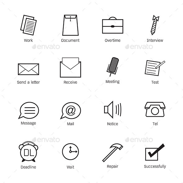 GraphicRiver Business and work Icons 10068488