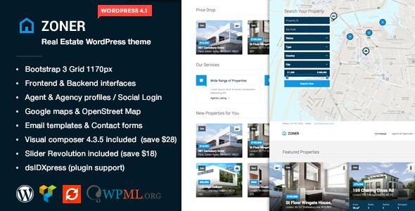 Zoner - Real Estate WordPress theme Download