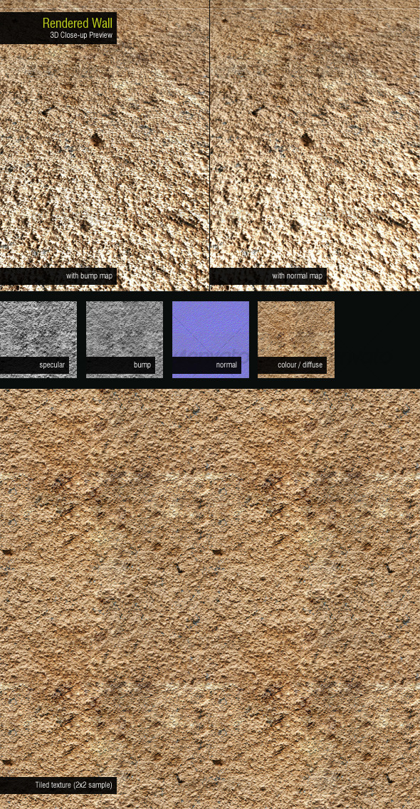 Rendered wall - 3DOcean Item for Sale