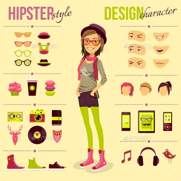 GraphicRiver Hipster Girl Set 10068899