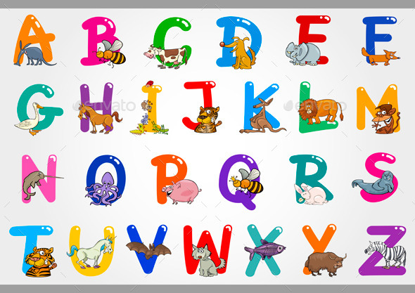 GraphicRiver Cartoon Alphabet with Animals Illustrations 10068913