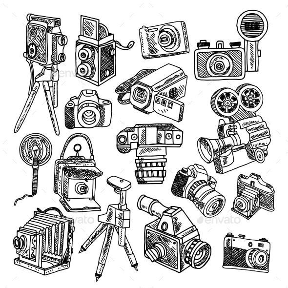 GraphicRiver Camera Doodle Sketch Icons Set 10069434