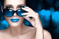 Colorful Makeup. Fashion Model Woman in Black Oversized Sunglass - PhotoDune Item for Sale