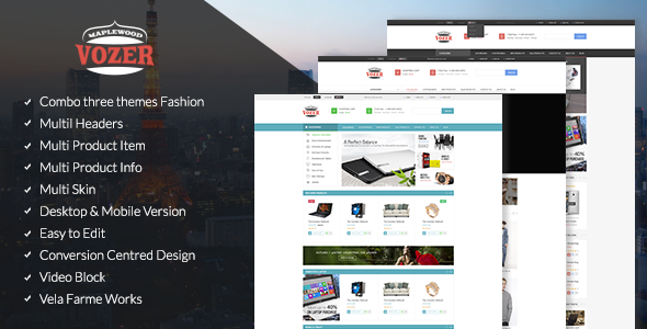 Vozer is a Premium Responsive Prestashop theme with advanced admin module. It's extremely customizable, easy to use and fully responsive. Suitable for eve