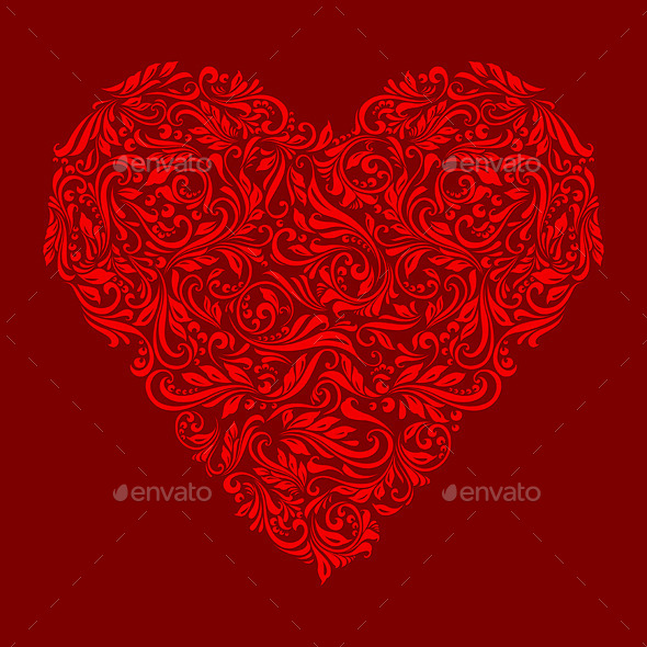 GraphicRiver Decorated Red Heart 10070280