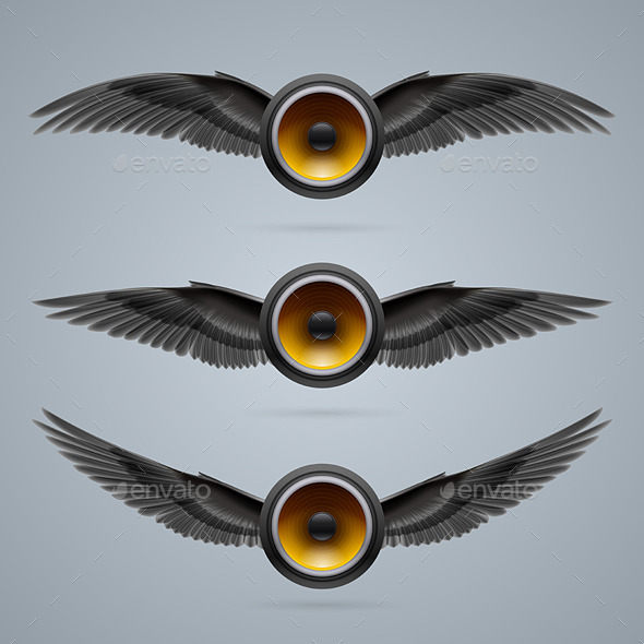 GraphicRiver Three Two-Winged Music Speakers 10070735