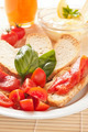 Italian Bruschetta With Garlic, Cherry Tomatoes and Fresh Basil - PhotoDune Item for Sale