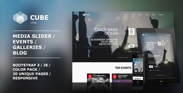 ThemeForest Club Cube responsive HTML5 theme for night club 10073324