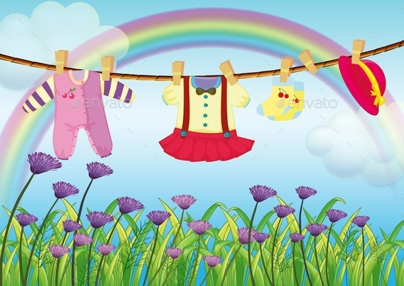 GraphicRiver Hanging Baby Clothes Near Garden 10073396