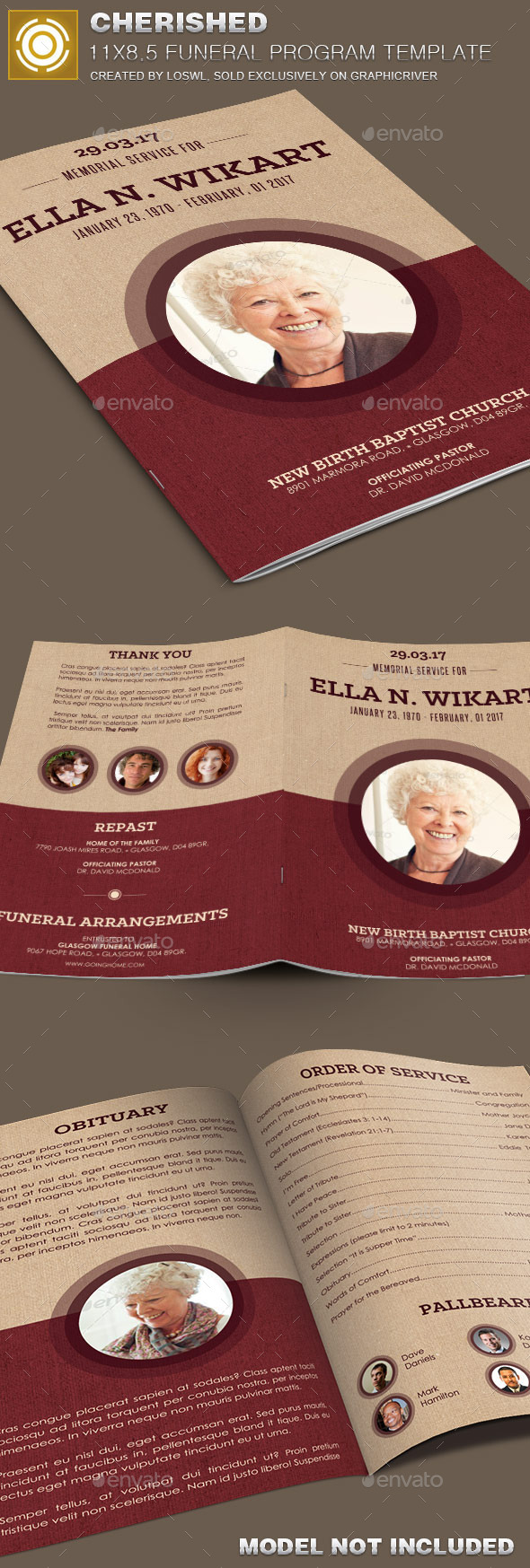 GraphicRiver Cherished Funeral Program Template 10073526