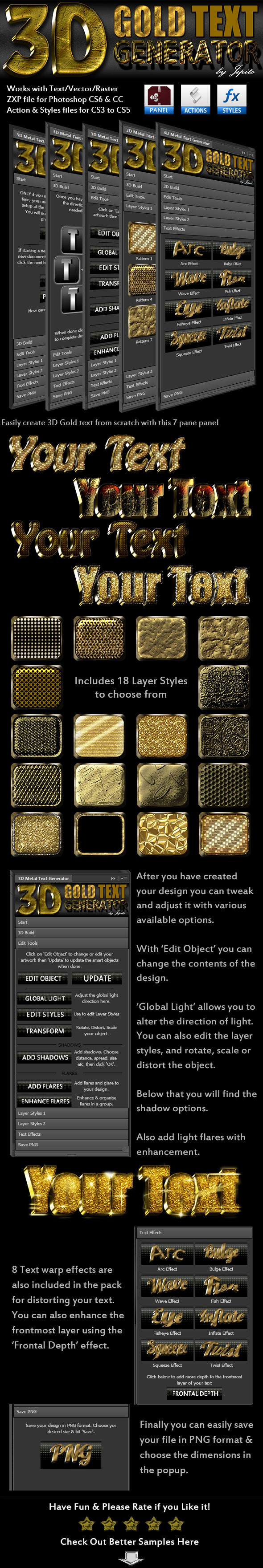 GraphicRiver 3D Gold Text Generator Panel 10073828