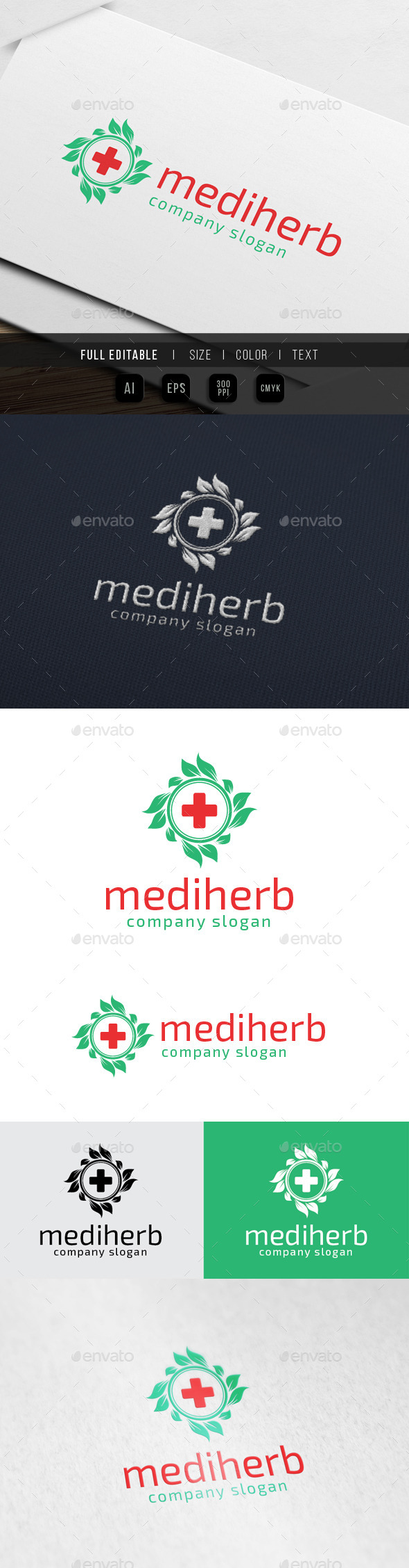 GraphicRiver Clinic Medical Herbal Pharmacy Logo 10074009