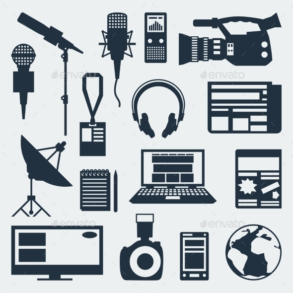 GraphicRiver Set of Journalism Icons 10074233