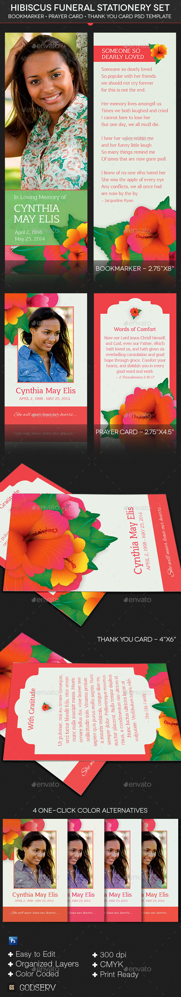 GraphicRiver Hibiscus Funeral Stationery Template Set 10074328