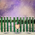 snow-covered wooden fence with paper heart - PhotoDune Item for Sale