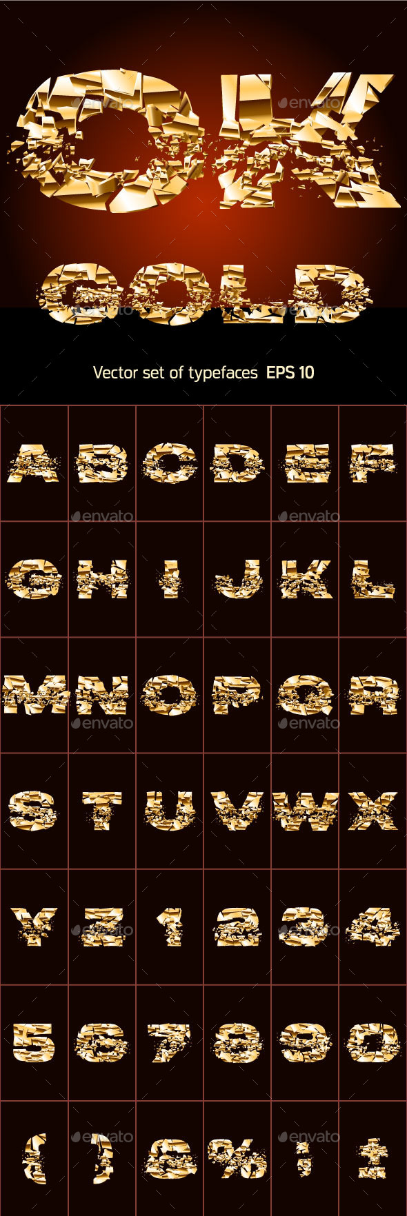 GraphicRiver Set of a Broken Golden Alphabet Letters 10074642