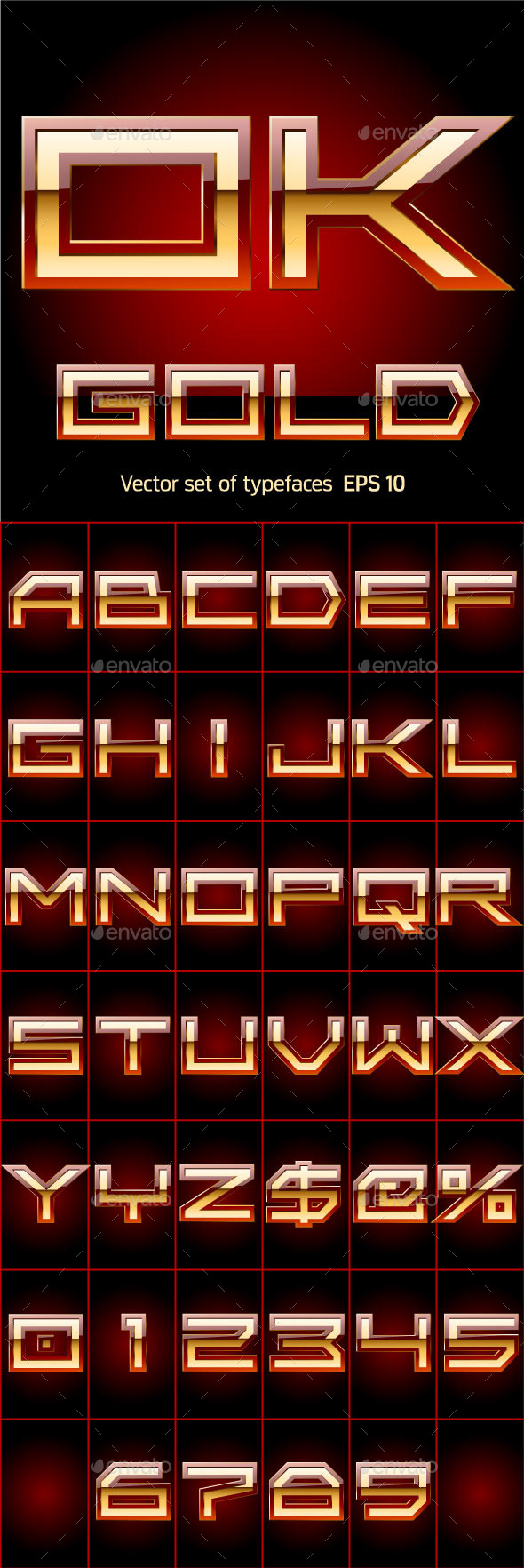 GraphicRiver Illustration of Golden Alphabet 10074653