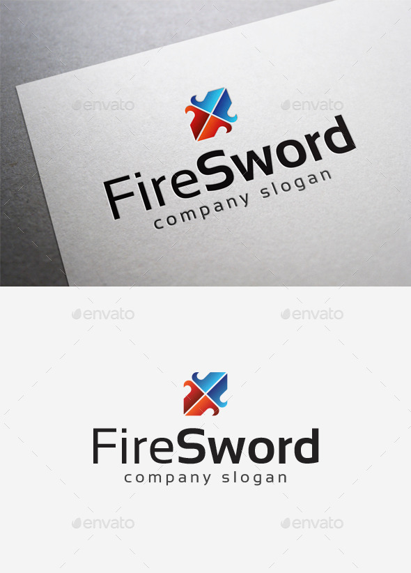 GraphicRiver Fire Sword Logo 10075414