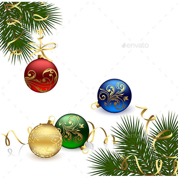 GraphicRiver Christmas Frame with Baubles 10075443