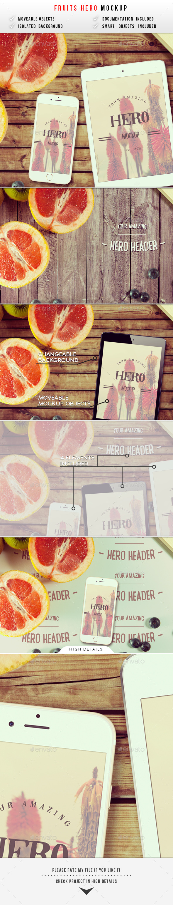 GraphicRiver Fruits Hero Header Mockup 10075888