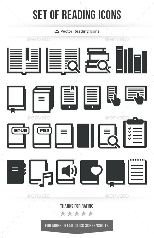 GraphicRiver Set of Reading Icons 10078886