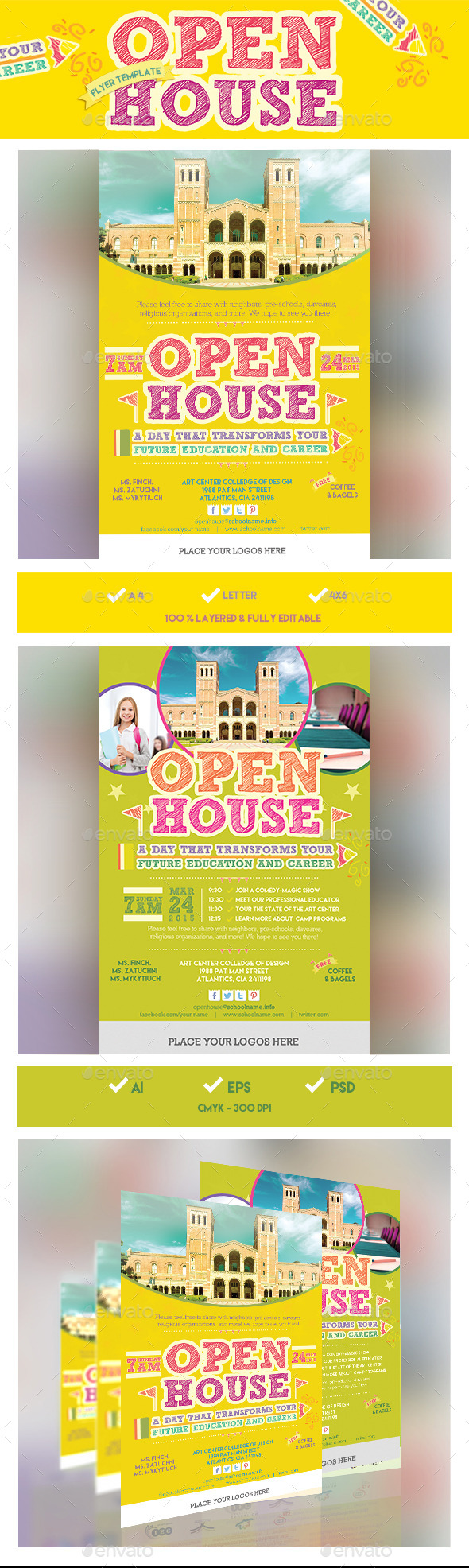 High school open house brochure template for Open house brochure template
