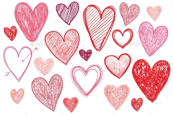 GraphicRiver Vector Set of Hand Drawn Doodle Hearts 10079316