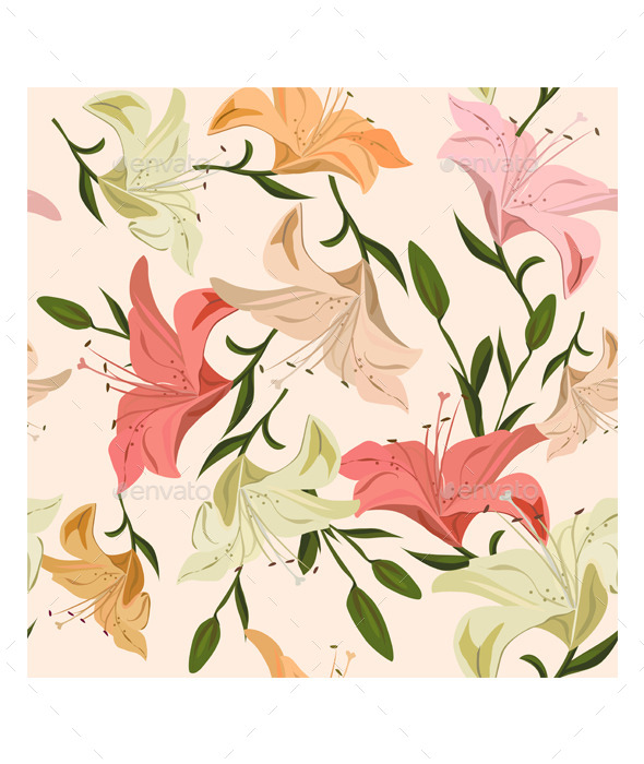 GraphicRiver Seamless Pattern Lily 9150175