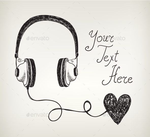 GraphicRiver Vector Retro Hand Drawn Doodle Headphones 10079666