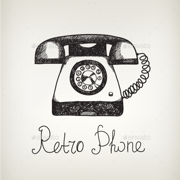 GraphicRiver Vector Hand Drawn Doodle Retro Phone 10079813