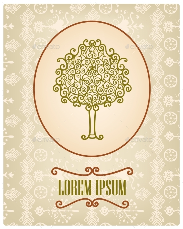GraphicRiver Vector Vintage Card with Hand Drawn Tree 10079877