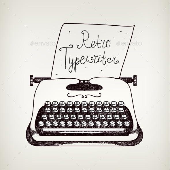 GraphicRiver Vector Hand Drawn Doodle Retro Black and White Typewriter 10079891