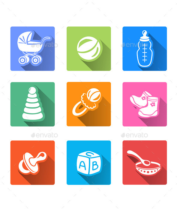 GraphicRiver Flat Icons with Baby Items 10079900