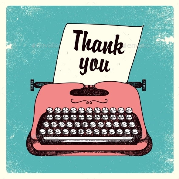 Vector Retro Typing Writer Thank You Card