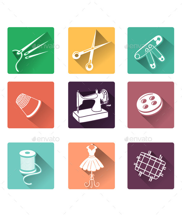 GraphicRiver Flat Icons with Sewing Elements 10079928