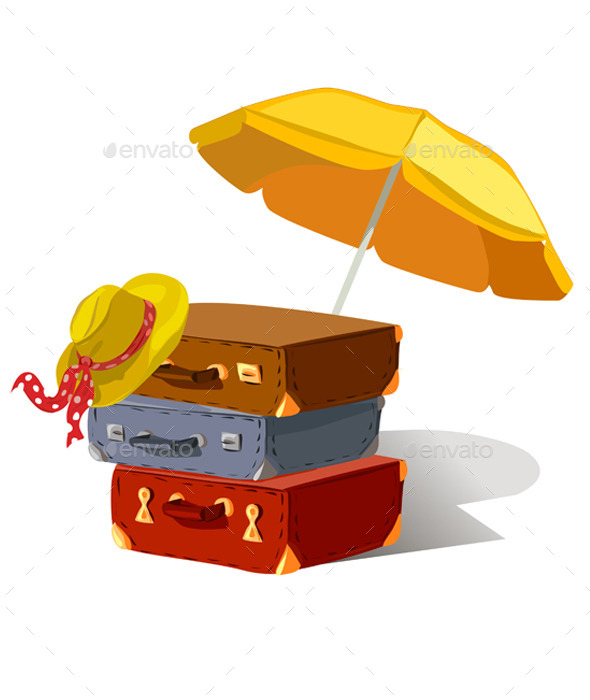 Suitcases Beach Umbrella Hat