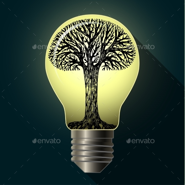 GraphicRiver Eco Bulb with Tree 10079938