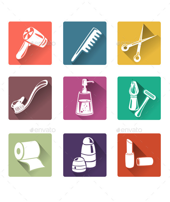 GraphicRiver Flat Icons Personal Care 10079945
