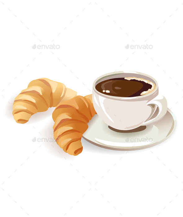 GraphicRiver French Breakfast of Coffee and Croissants 10080170