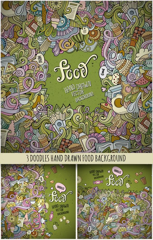 3 Food Doodles Frames