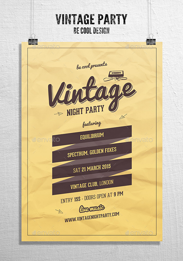 GraphicRiver Vintage Night Party Flyer Poster 10080291