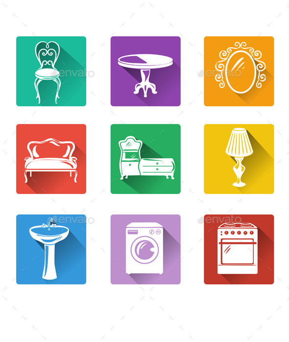 GraphicRiver Flat Icons of Furniture and Equipment 10080308