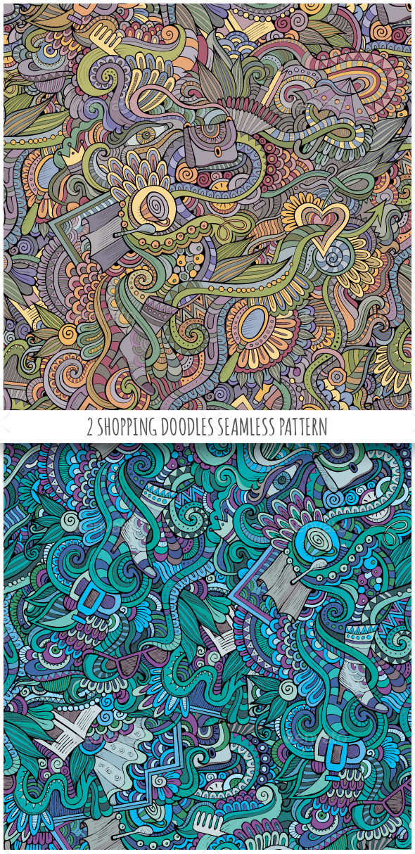 2 Doodles Seamless Fashion Patterns