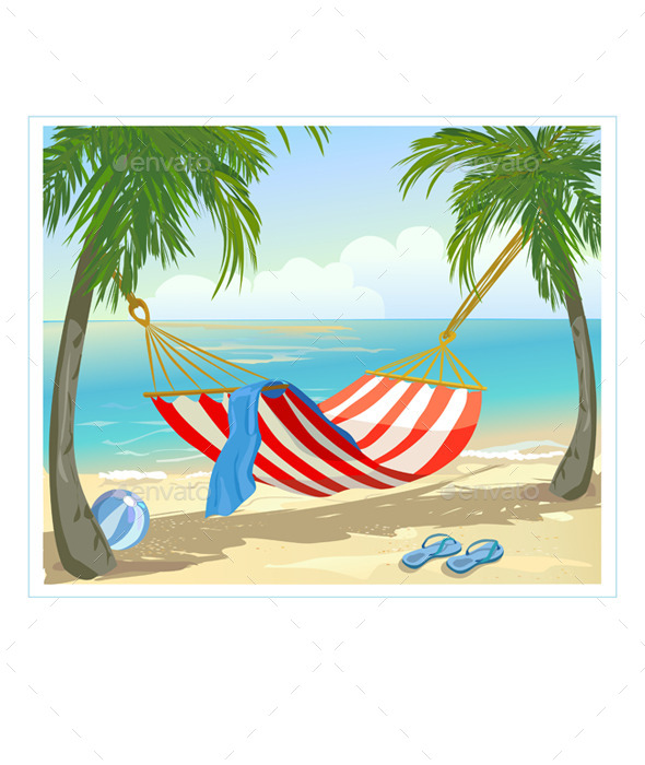 GraphicRiver Hammock Palm Trees on the Beach 10080562