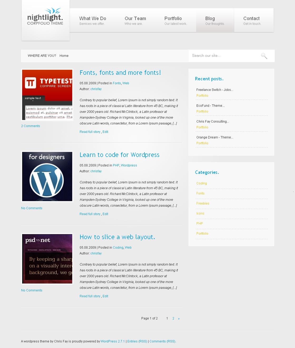 nightLight - Wordpress Theme - WhiteSilver color scheme  Styling for the WhiteSilver color scheme.