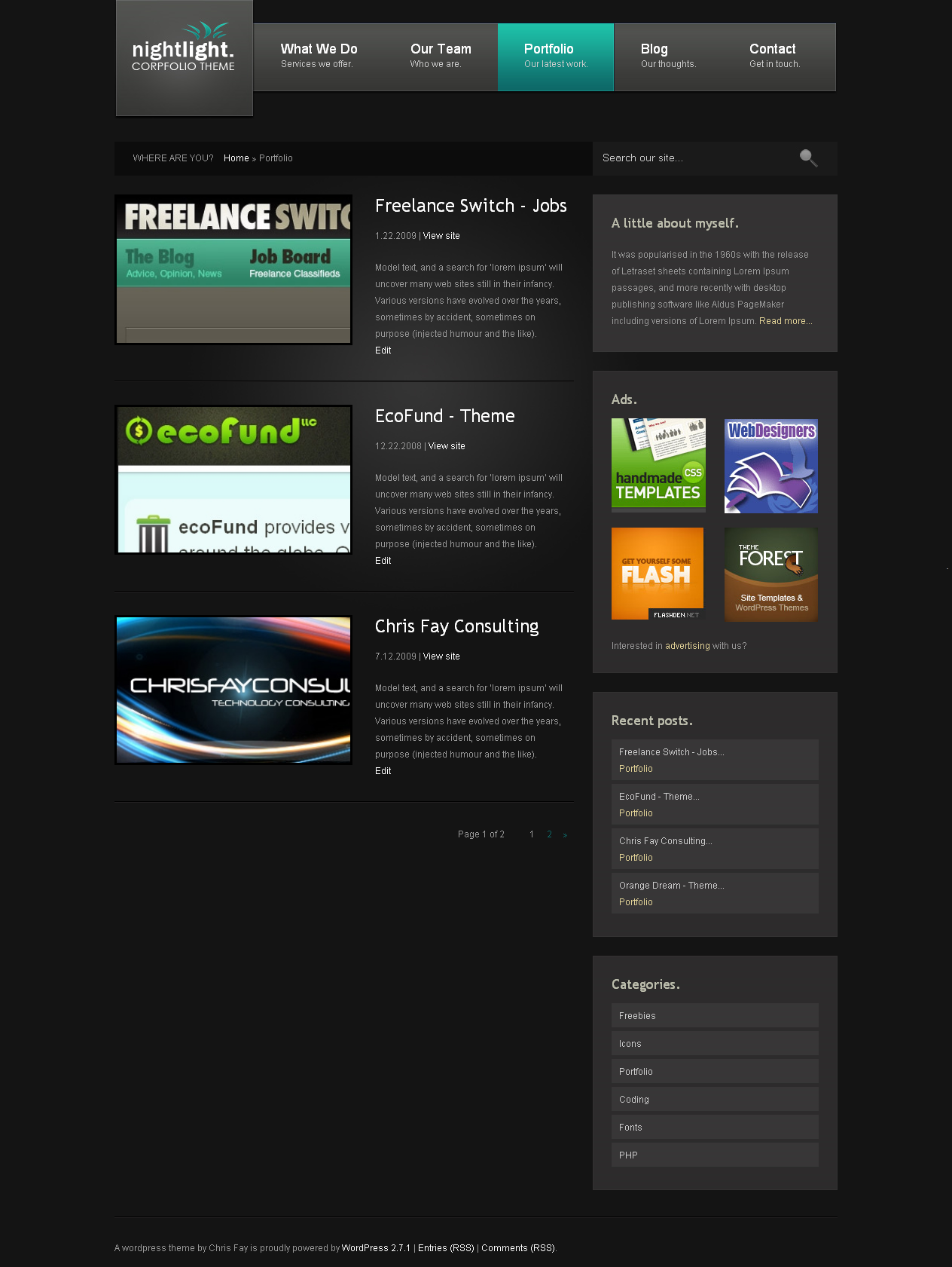 nightLight - Wordpress Theme - Portfolio Page  A clean and stylish layout with multi-module sidebar, ad space, and blog presentation. Custom field controlled.