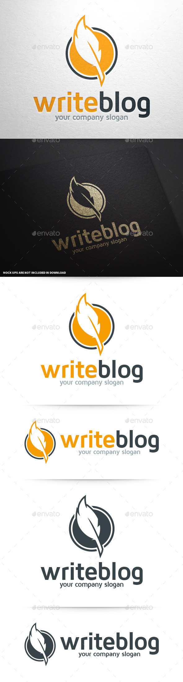 GraphicRiver Write Blog Feather Pen Logo 10082884