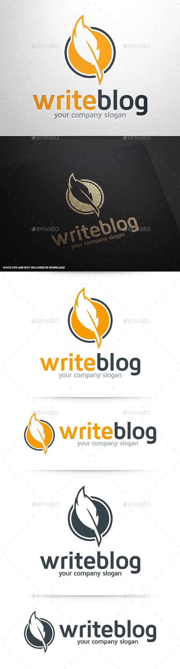 GraphicRiver Write Blog Feather Pen Logo 10082884