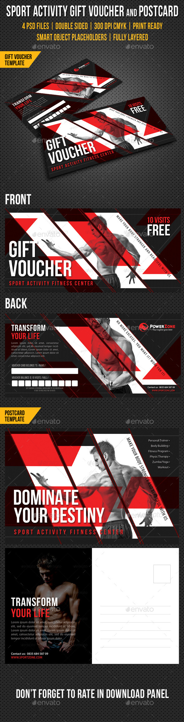 GraphicRiver Sport Activity Gift Voucher and Postcard V02 10083199