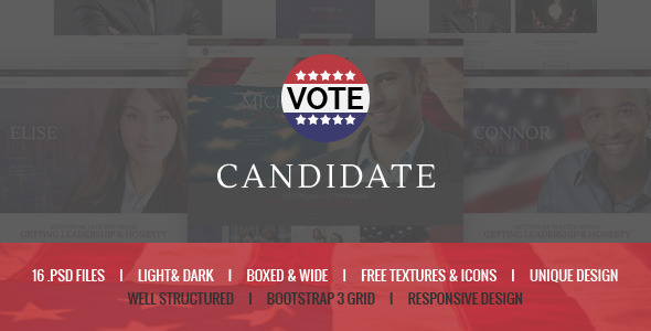 ThemeForest Candidate Political PSD Template 10083245